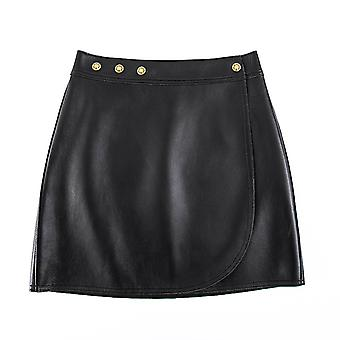 Mimigo Women Genuine Leather Sexy Knee-length A-line Skirts Office Lady Club Skirt With Button