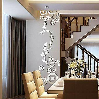 Reflective Mirror Wall Decal Posters Flowers Mural Home Décor Bathroom 3d Acrylic Wall Stickers
