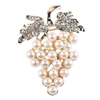 Panie Broszka Winogrona Corsage Rhinestone Pearl Biżuteria Broszka Pin