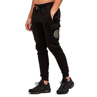 Glorious Gangsta   3668 Zaiar Cargo Crest Logo Sweat Jogger - Black