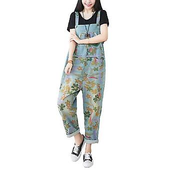 Women Loose Overalls Ripped Flower Printed Pants