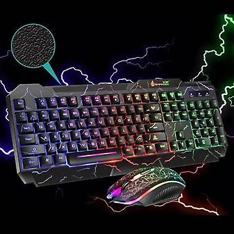 Teclado de juegos + Conjuntos de ratón USB con cable RGB LED retroiluminación para PC de escritorio portátil