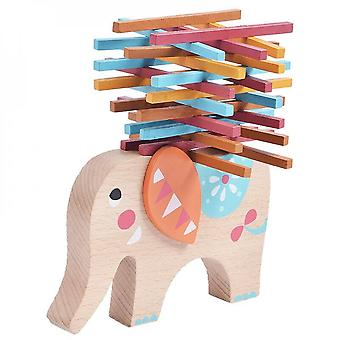 Children's Toy Elephant Color Wooden Stick Balance Training Building Blocks Baby Educational Toys Wooden Stacking Game