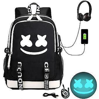 marshmello plecak USB akumulator plecak dużej pojemności student szkolnej torbie (Color-3)