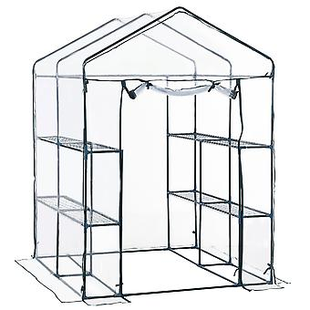 Outsunny 143 x 143 x 195 cm Walk in Garden PVC Greenhouse with Metal Frame Shelves - Transparent