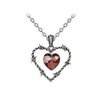 Collar y colgante de corazón de alambre de púas de alquimia amor encarcelado gótico