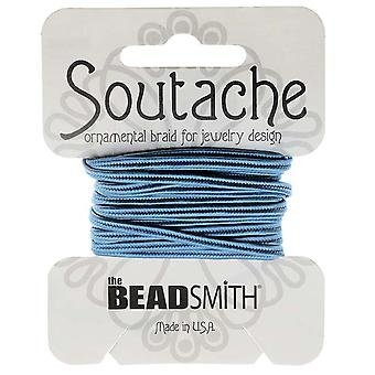 The Beadsmith Soutache Braided Cord 3mm Wide - Blue (3 Yard Card)