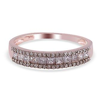 TJC Champagne Diamond Half Eternity Band Ring for Womens 9K Rose Gold 11.25ct