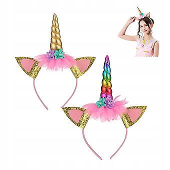 Unicorn Bentiță ac de păr decorare decorare de Crăciun Birthday Party Coafura 2 Pachete (aur + Culoare)