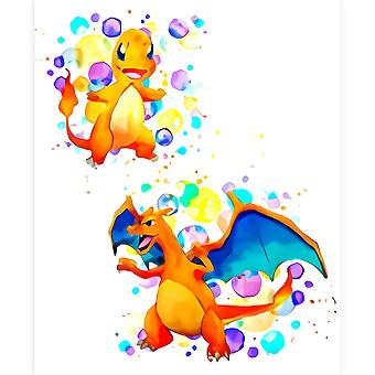 Pokemon Poster impermeabil și rezistent la lacrimi acuarelă 30cm