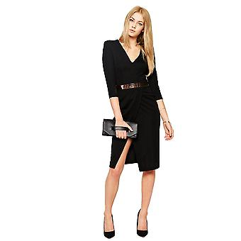 Ex Asos Pencil Dress With V Neck And Metal Belt