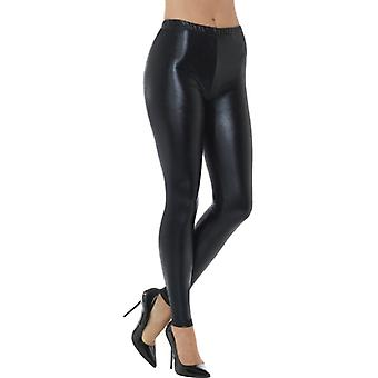 80er  Metallic Disco Leggings schwarz