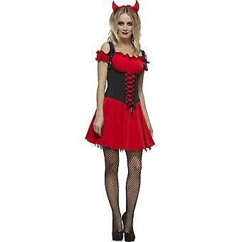 Gorączka zbiór grzeszne petticoat czerwona sukienka kostium Lady diabłem i rogi
