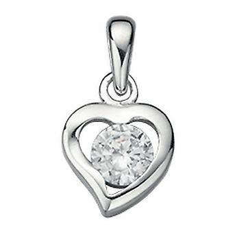 925 Silver Heart Necklace And Zirconium