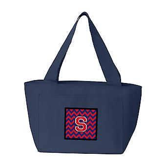 Letter S Chevron Yale Blue and Crimson Lunch Bag