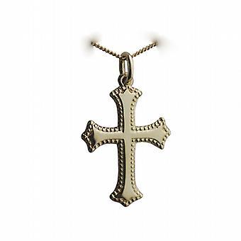 18-каратное золото 26x19mm равнина крест с рельефной границей на обочине цепи 20 дюймов