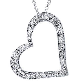 Diamant Herz Form Anhänger Halskette 10K Weißgold zu ebnen