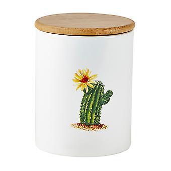 KJ Collection Cactus Storage Pot, Yellow Flower