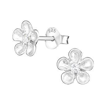 Flower - 925 Sterling Silver Cubic Zirconia Ear Studs - W21534X