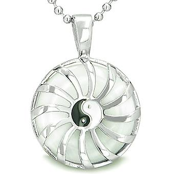 Positive Energy Sun Yin Yang Medallion Amulet Magic White Cats Eye Lucky Charm Pendant Necklace