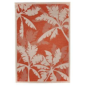 Outdoor carpet for Terrace / balcony carpet indoor / outdoor - for indoor and outdoor living Palm orange natural 135 x 190 cm