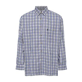 Mester Mens Buxton Country Stil Avslappet Langermet Skjorte - Blå - 3XL