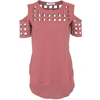 Panie ramię zimno Laser wyciąć klatkach wysoki niski teksturowanej bluzka Top T-Shirt