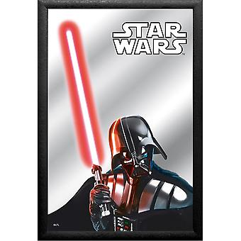 Darth Vader Star Wars mirror printed plastic framing, multi colored, black, wood.