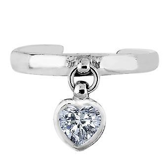 Plata colgantes corazón forma CZ brazalete estilo del dedo del pie ajustable anillo