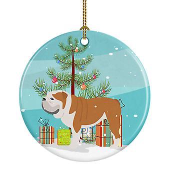 English Bulldog Merry Christmas Tree Ceramic Ornament