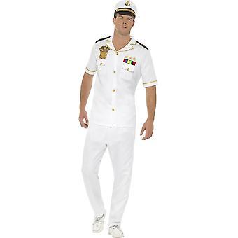 Kapitän Kostüm, weiß, mit Top, Hose & Hut