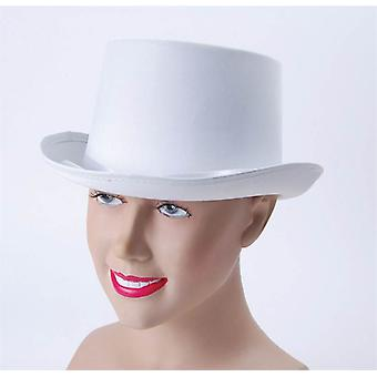 Top Hat. White, Satin Look.