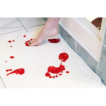 Bath rug bloodbath blood stained bath rug made of soft, fluffy material.