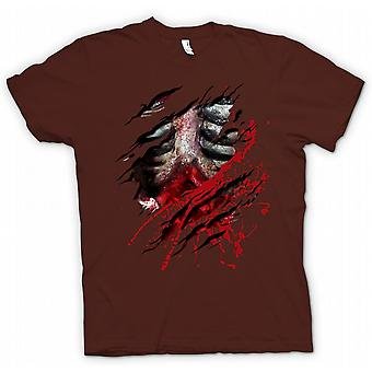 Mens T-shirt-Zombie Walking tot Rippen und Guts Riss Design