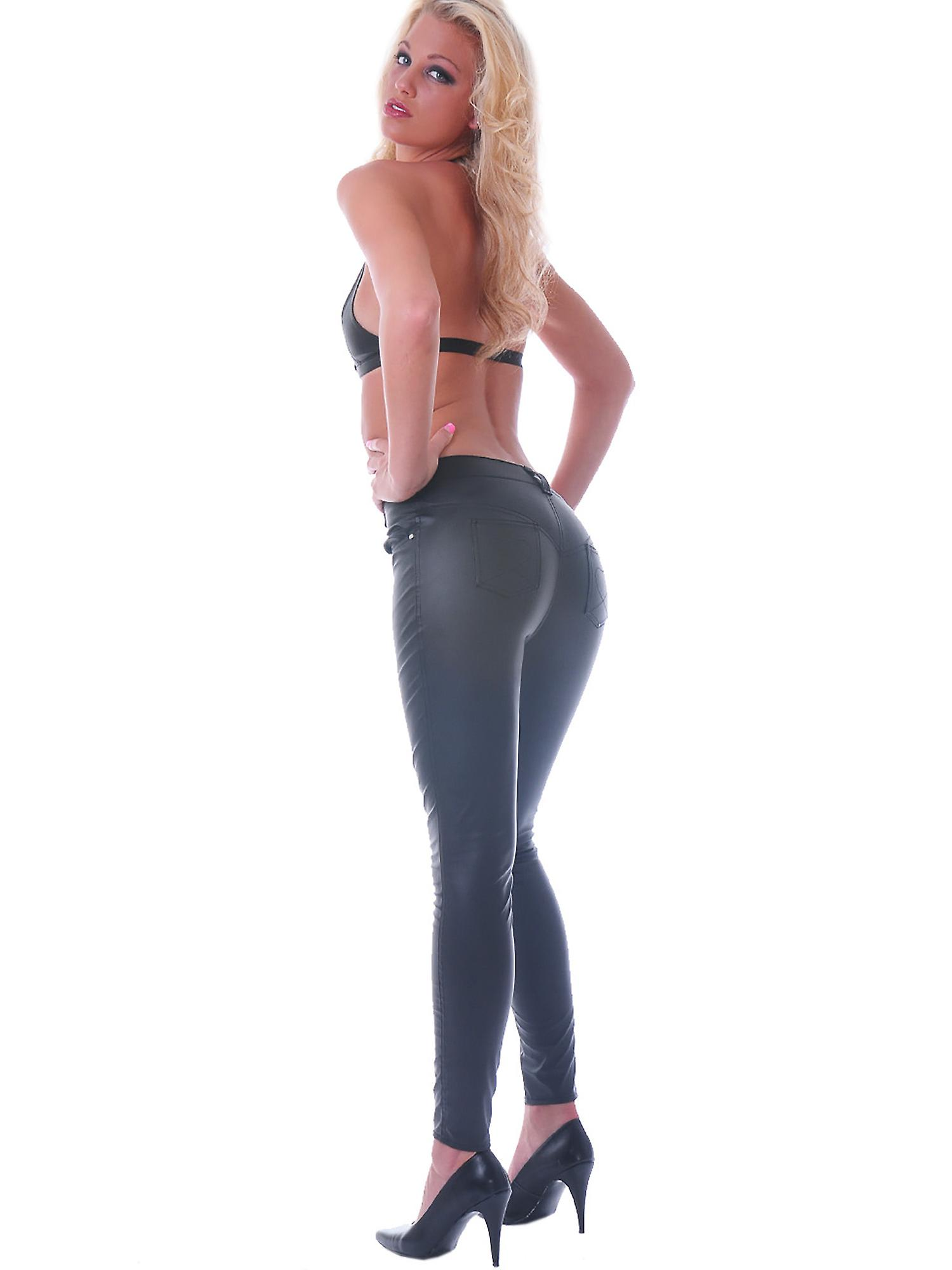 Honour Women's Sexy Trouser Jeans in PVC Black Patch Pockets Heart Design