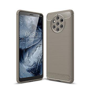 Nokia 9 rena Visa TPU case kolfiber optik borstad skydd täcka grå