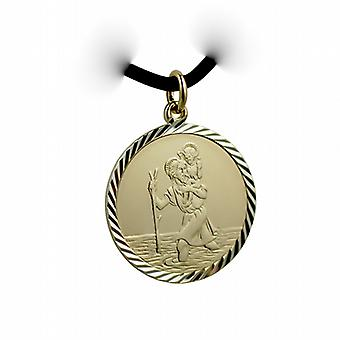 1/20th 14ct yellow gold on Silver 25mm round diamond cut edge St Christopher Pendant with a Leather Pendant Cord 24 inches