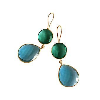 Gemshine brincos turmalina e azul Topas gotas em 925 prata ou banhado a ouro