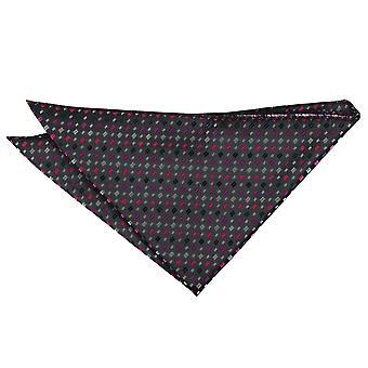Negro con rosa y plata bohemio geométrica Plaza de bolsillo