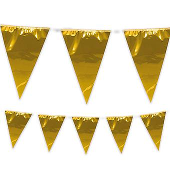 Giant Gold Bunting Pennant Flags 10m Long Garden Party Birthday Decoration