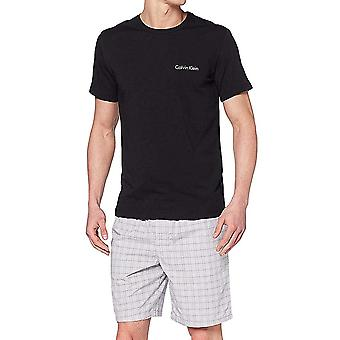 Calvin Klein Pyjama Set, Black Top / Gather Print Black, X-Large