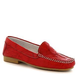 Leonardo Damenschuhe handgemachte Slip-on flache Slipper in rotem Kalbsleder