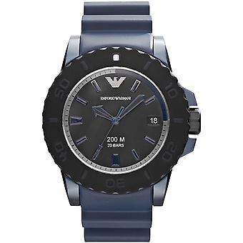 Emporio Armani Ar6100 azul alumínio & Rubber Men ' s Watch