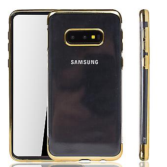 Phone case for Samsung Galaxy S10e Gold-Clear-TPU Silicone Case Backcover protective case in Transparent/Shining Edge Gold