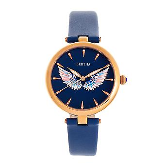 Bertha Micah Leather-Band Watch - Navy