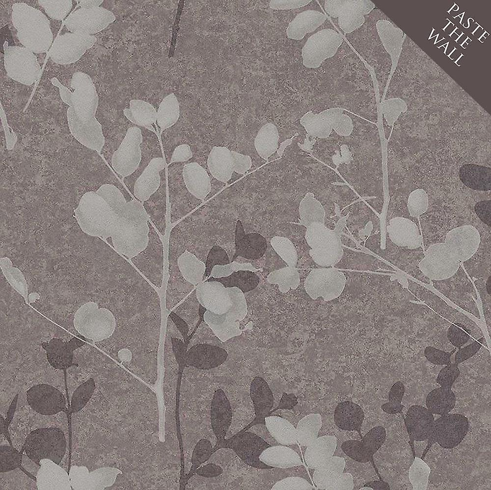 Branches Leaf Floral Wallpaper Bronze Silver Metallic Paste Wall