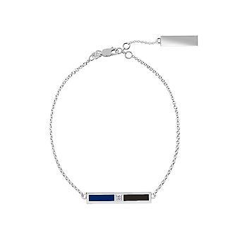 タンパベイ ライトニング スターリング シルバー ダイヤモンド バー チェーン ブレスレット イン ブルーとブラック