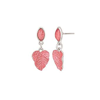 Eternal Collection Chaparral Dark Coral Resin And Enamel Silver Tone Drop Pierced Earrings