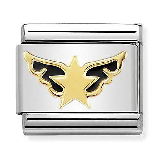 Nomination Classic Angel of the Stars Steel, Enamel and 18k Gold Link Charm 030272/34