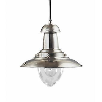 1 luz Dome teto pingente de prata de cetim, meio de vidro transparente